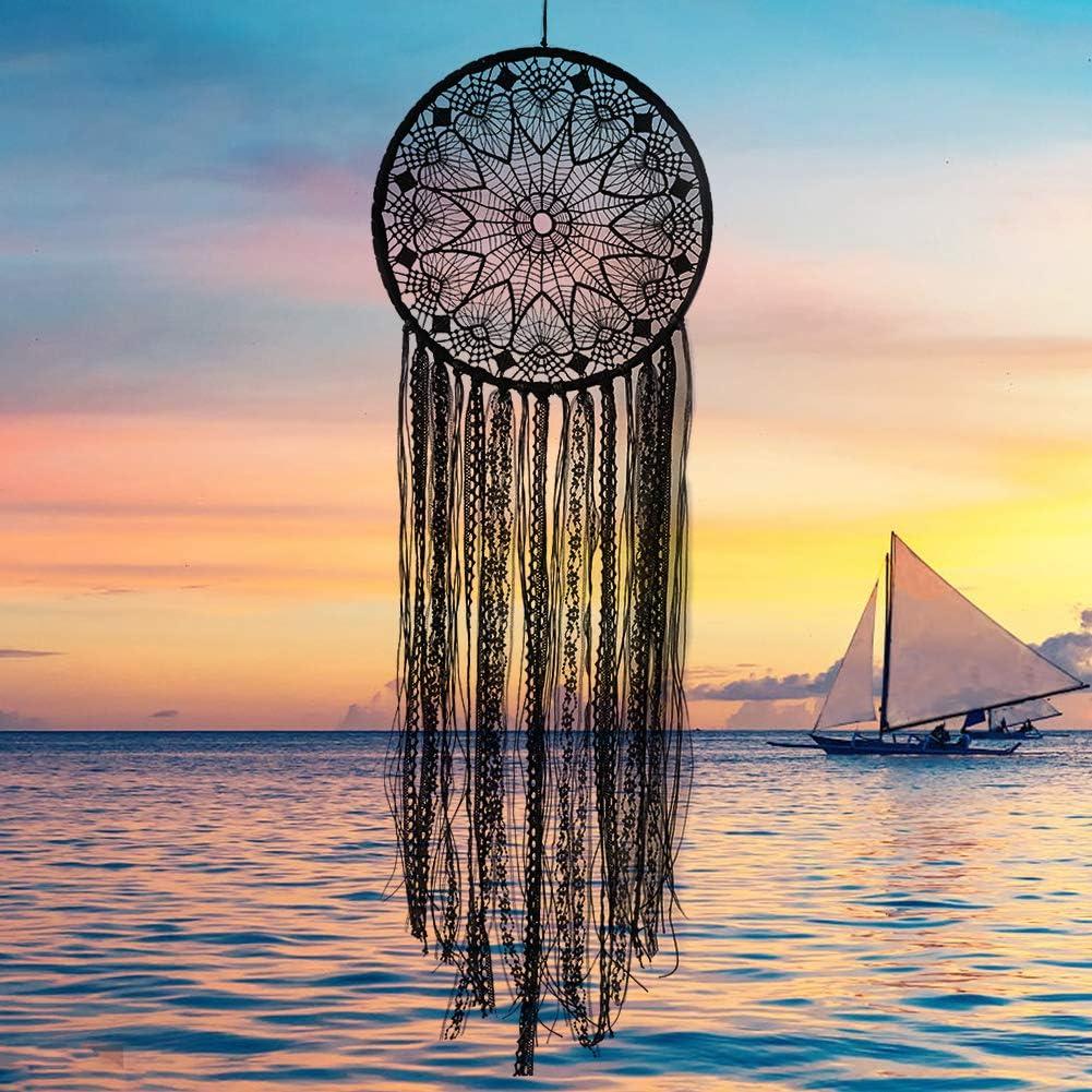 Nice Dream Black Boho Dream Catcher, Handmade Crochet Lace Dream Catchers for Wall Hanging Home Decor
