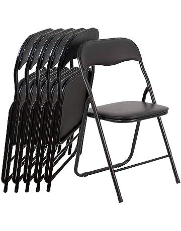 EGLEMTEK 29833 Juego de 6 Silla Plegable Estilo Moderno de Metal, Negro