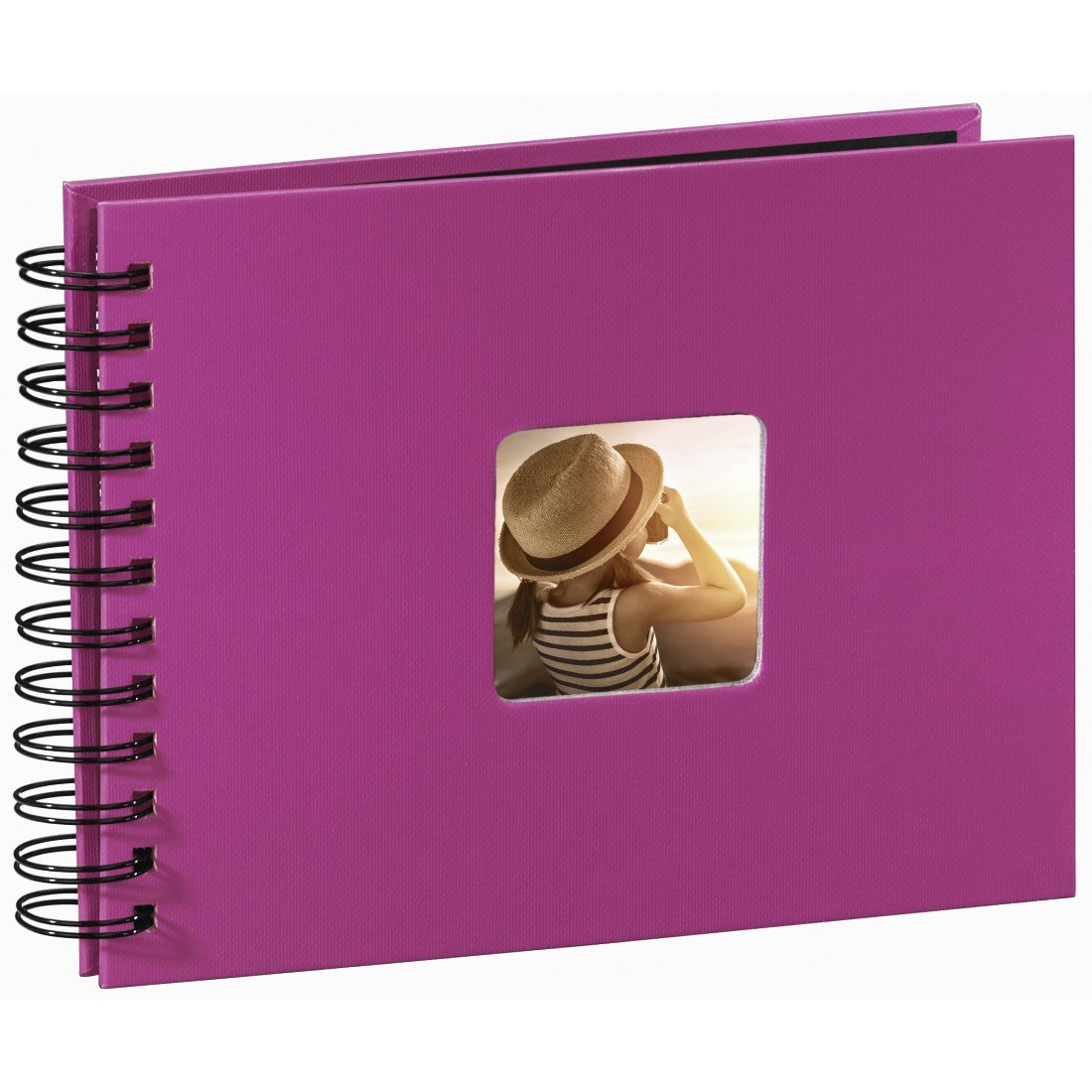 Hama Fine Art photo album, 50 black pages (25 sheets), spiral bound album 24 x 17 cm, with cut-out window in which a picture can be inserted, pink