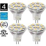 4 Ampoules LED MR11 GU4.0, 2W (équivalent ampoules halogènes 20 W), GU4 Base, 200lm, 12V AC/DC, 120° Flood faisceau ampoules LED, 3000 K( Blanc Chaud)