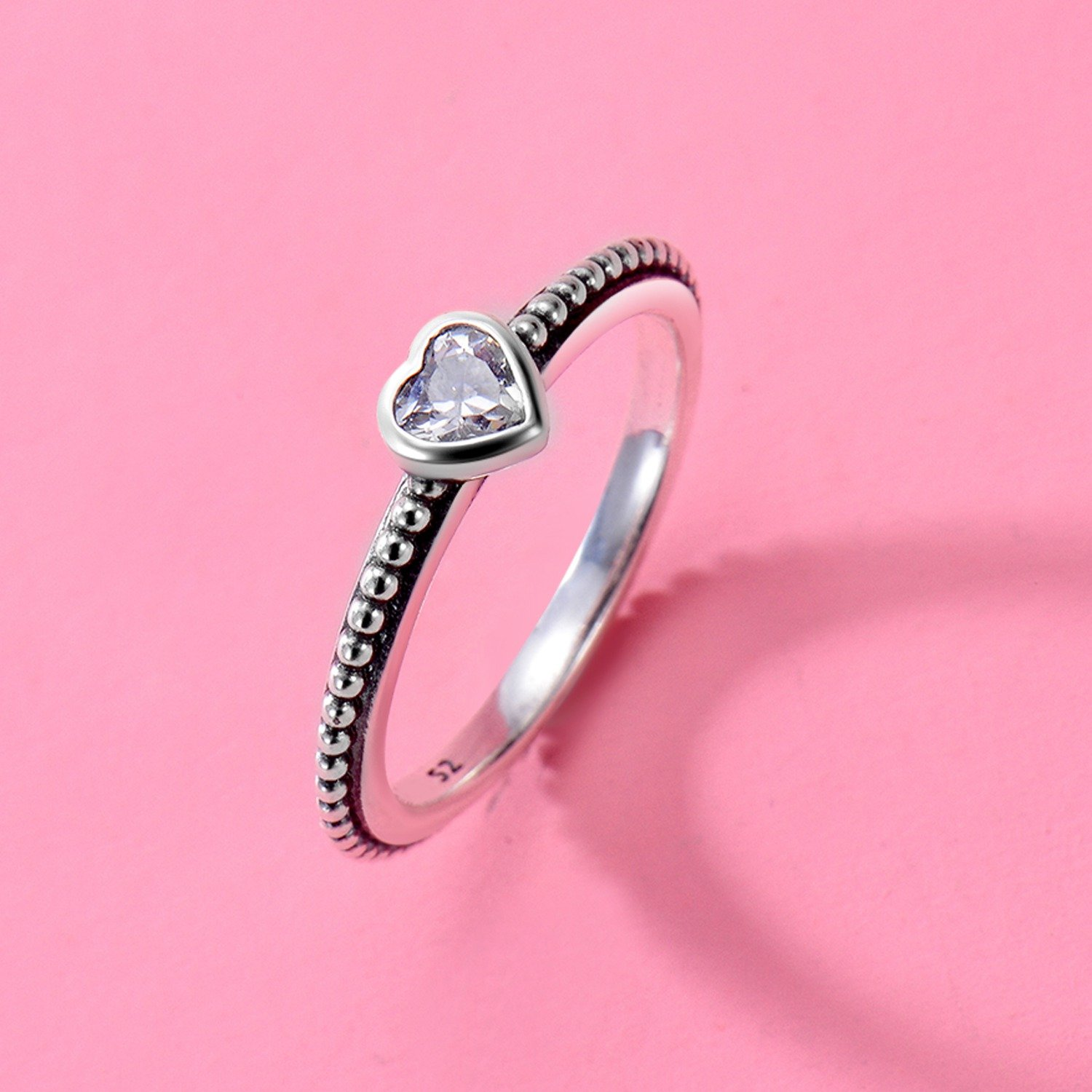 Changeable Solitaire Promise Rings - White Crystals, Solid 925 Sterling Silver # Size 6 (Soul Heart) by Changeable (Image #4)