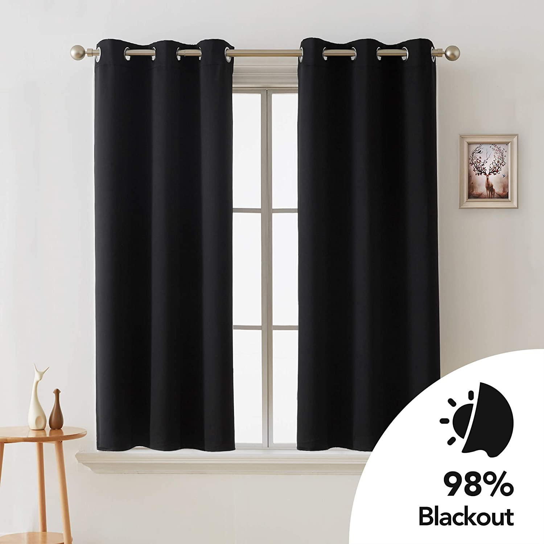 "THERMAL BLACKOUT Small Window Curtain Eyelet Ring Top Tiebacks Dark Grey 66/""x54/"""