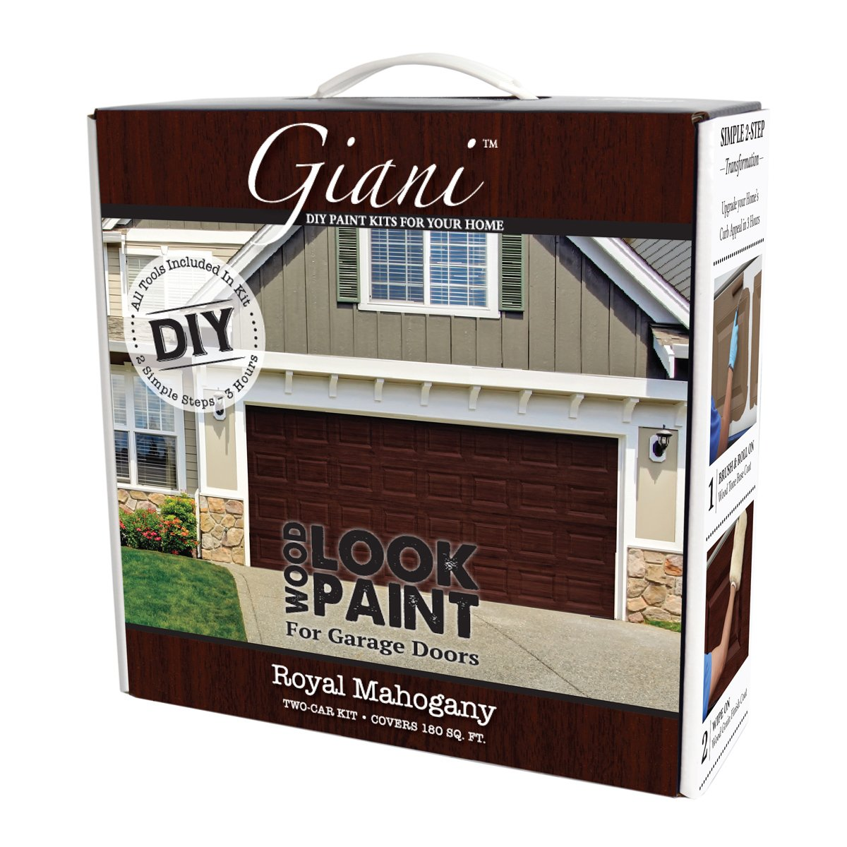 Giani Wood Look Garage Door Paint Kit, 2 Car, Royal Mahogany Inc.