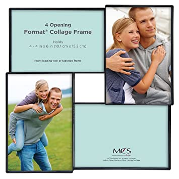 Amazon.com: MCS 4x6 Inch Format Frame Collage, 4 Openings, Black ...
