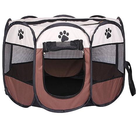 REAYOU Pet Portátil Plegable Playpen Portable Pet House, Carpa Plegable Casa para Dog Cat Puppy Exercise 8-Panel Kennel Mesh Shade Cover ...