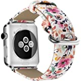 Youkex for Apple Watch Band 38mm 42mm, Replacement Floral Wristbands Printed Flower Leather Strap Compatible with Apple Watch Series 3, Series 2, Series 1 Women Men