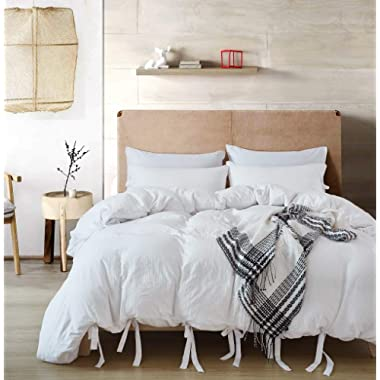 GiveUWant White Bow tie Duvet Cover Set King,3 Pieces (1 Duvet Cover, 2 Pillowcases) Soft Washed Cotton Bowknot Duvet Cover Set, Easy Care Bedding Set for Men, Women, Boys and Girls