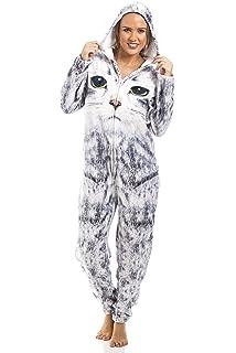 Camille - Pijama de una pieza - Para mujer e infantil - Estampado de gato -