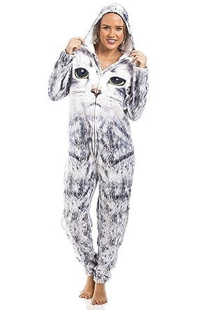 6c4082ca74da9 Camille - Combinaison-Pyjama pour Femme/Enfant - Motif Visage de Chat - Gris