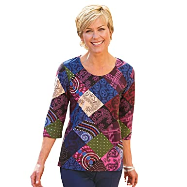 e4f69702b0cc3 Blair Women s Plus Size Print Tee - 2XL Patchwork at Amazon Women s ...