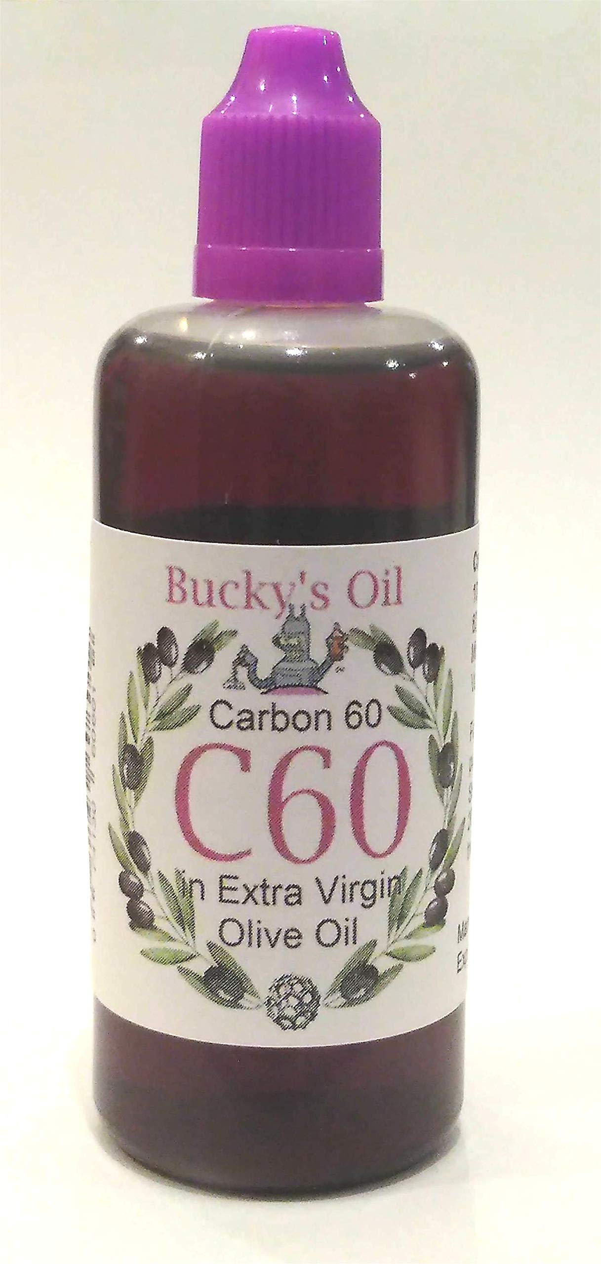 C60 Olive Oil - 100ml Bottle - 82mg Carbon 60: 99.9% in Extra Virgin Olive Oil, Lipofullerene by Bucky's Oil