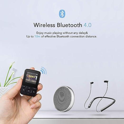 Agptek G6b Reproductor Mp3 Bluetooth 8gb Con Clip Reproductor De Música Deportivo Con Pantalla Tft De 1 5 Pulgadas Fm Radio Auriculares Banda Del Brazo Negro Amazon Es Electrónica
