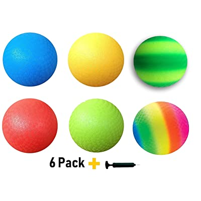 Toys+ Dodgeball Kickball Set Official Size Playground Balls, Dodge Ball, Handball, Four Square (6Pack + Pump) : Sports & Outdoors