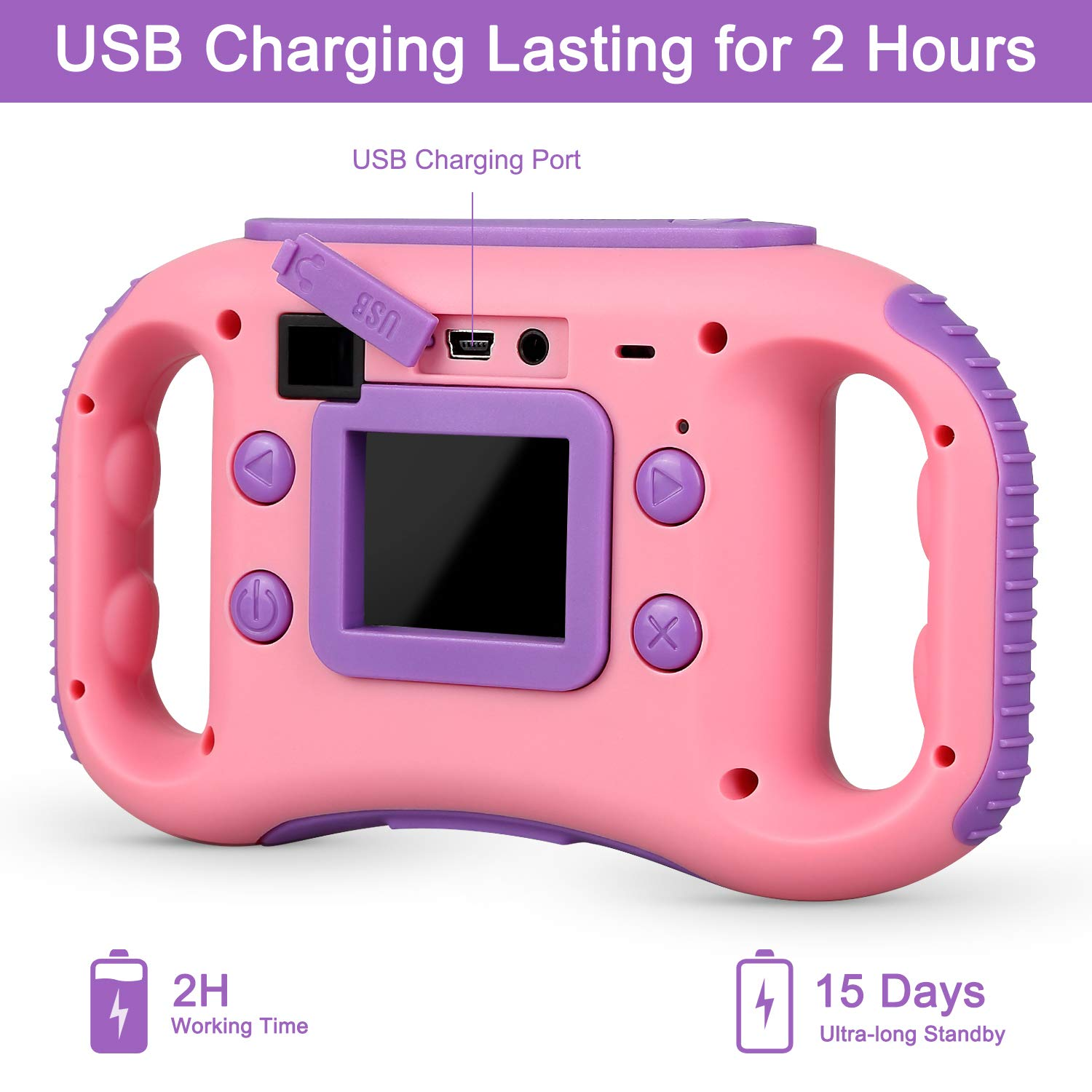 AGM Kids Camera for Girls & Boys, 1.77Inch Children Video Recorder Toddler Digital Camera,Creative Birthday Children's Day Gifts (Pink) by AGM (Image #6)