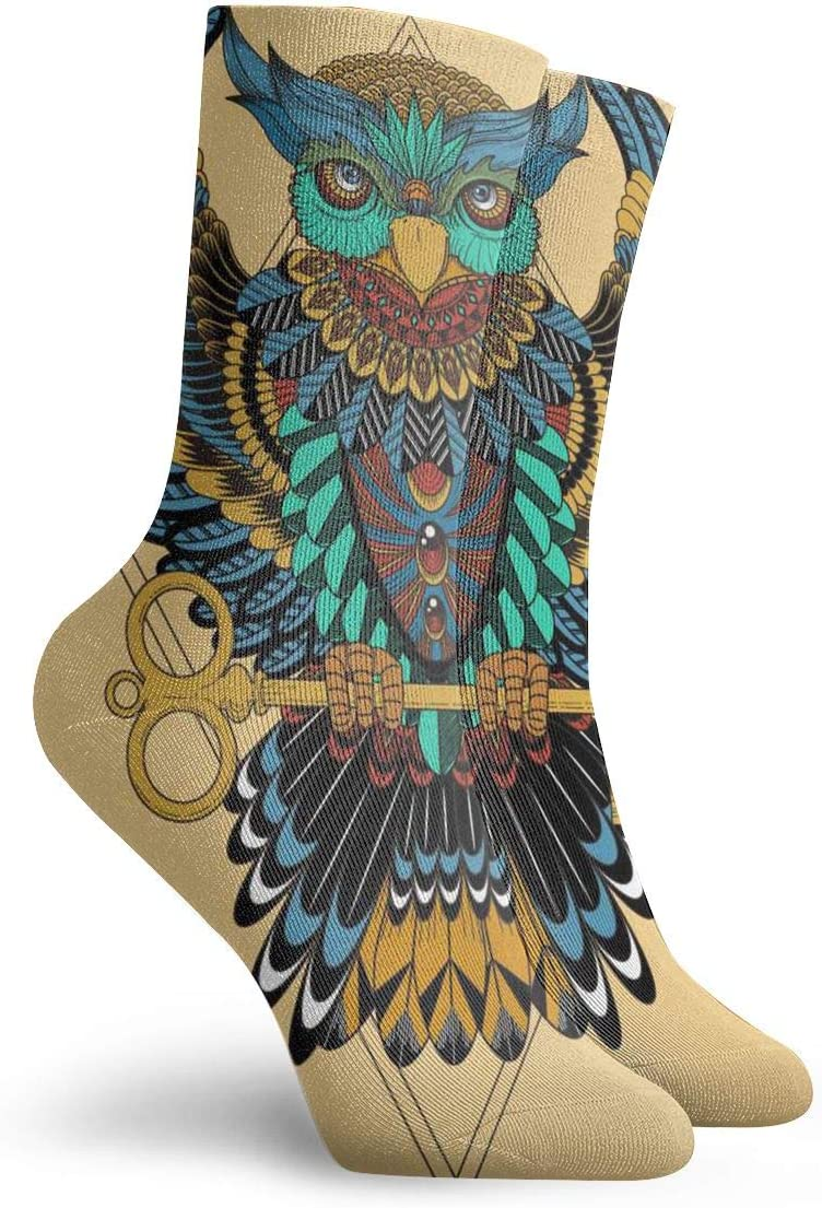 WEEDKEYCAT Print Ethnic Owl Animals Adult Short Socks Cotton Sports Socks for Mens Womens Yoga Hiking Cycling Running Soccer Sports