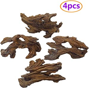Tfwadmx Aquarium Resin Driftwood Decoration, Aquarium Decorations Log, Fish Tank Cave Hideout Wood Decor Freshwater Ornament