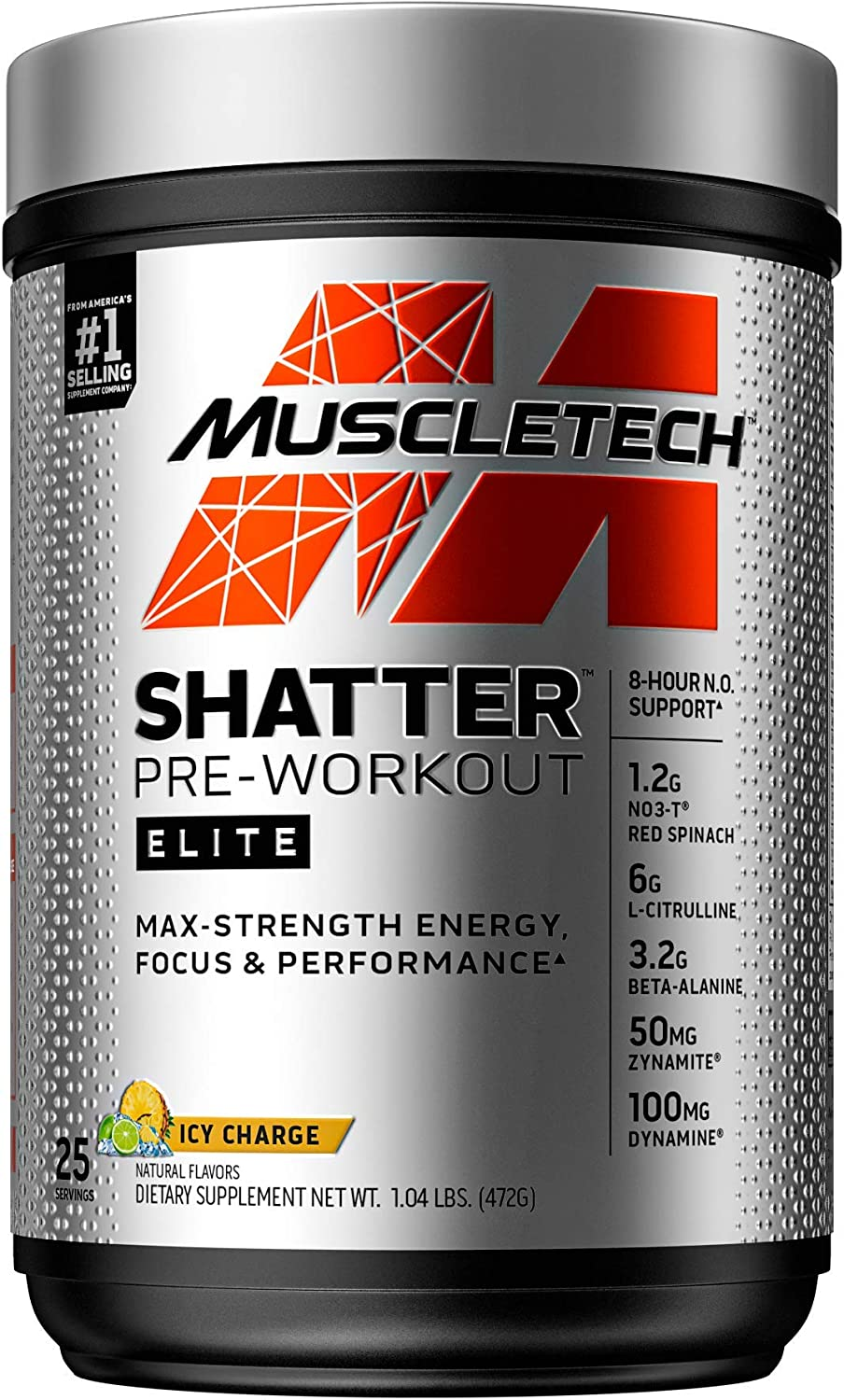 Pre Workout for Men & Women   MuscleTech Shatter Elite   Preworkout Energy Powder   Max Strength for Explosive Energy   8 Hour Nitric Oxide Booster   ICY Charge, 1 lb (25 Servings)