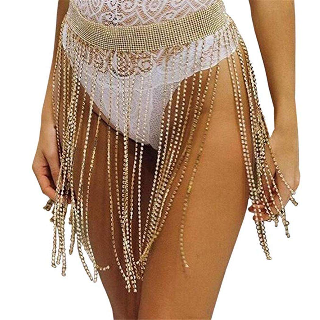 Nicute Boho Rhinestone Waist Chain Gold Crystal Tassel Belly Chains Sexy Summer Body Jewelry for Women and Girls