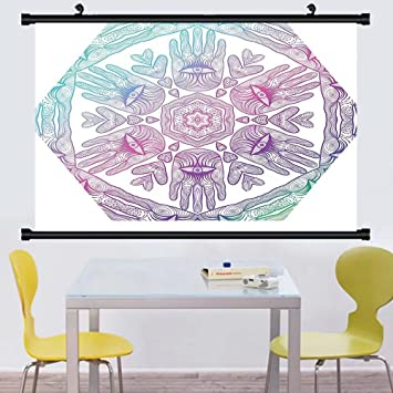 Gzhihine Wall Scroll Hamsa Decor Collection Evil Eye Themed Boho Style Ombre Color Pattern Hamsa Hands
