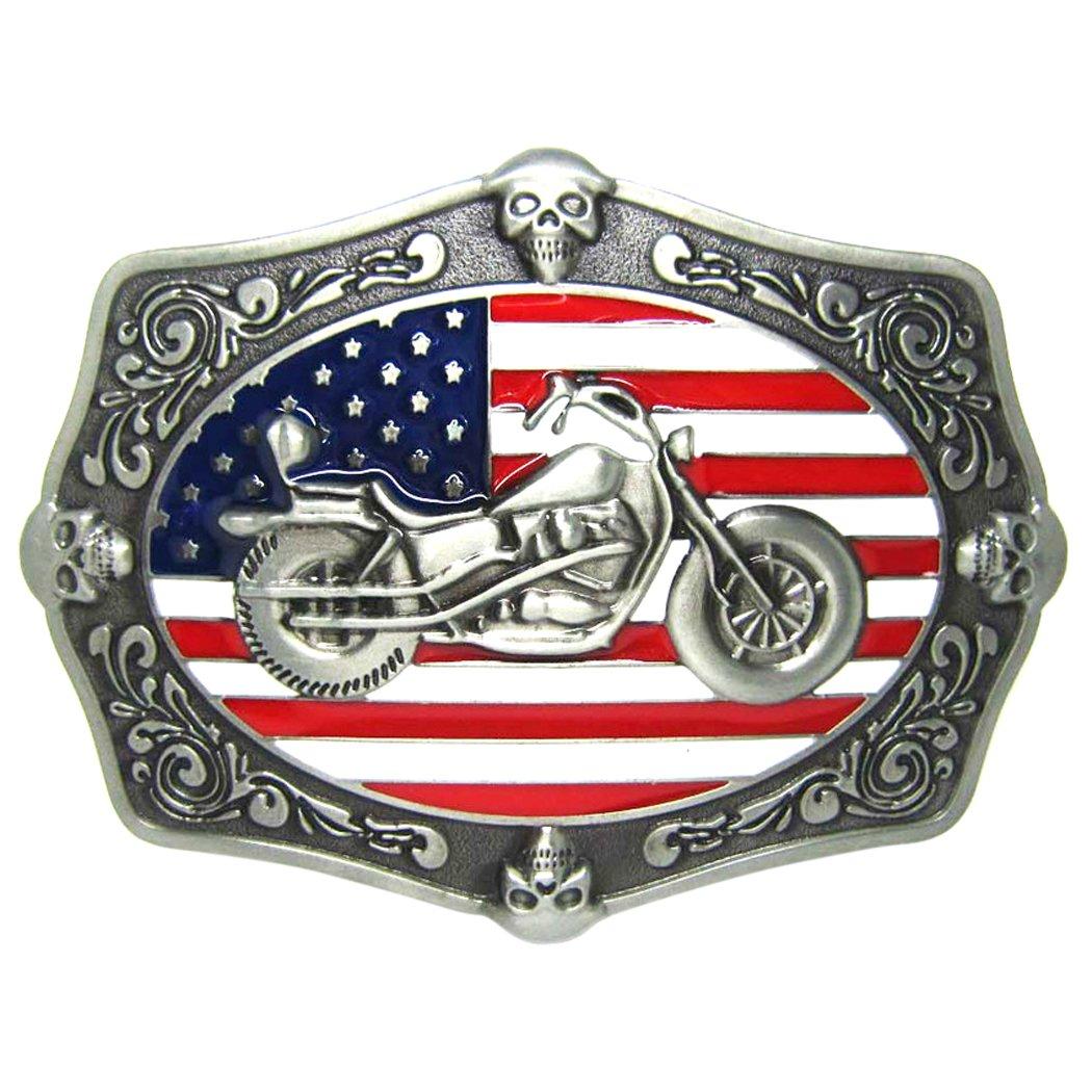 Zoylink Fibbia Per Cintura Americana Fibbia per Cintura In Metallo Motociclo Decorativo Bandiera USA Novità Fibbia per Cintura