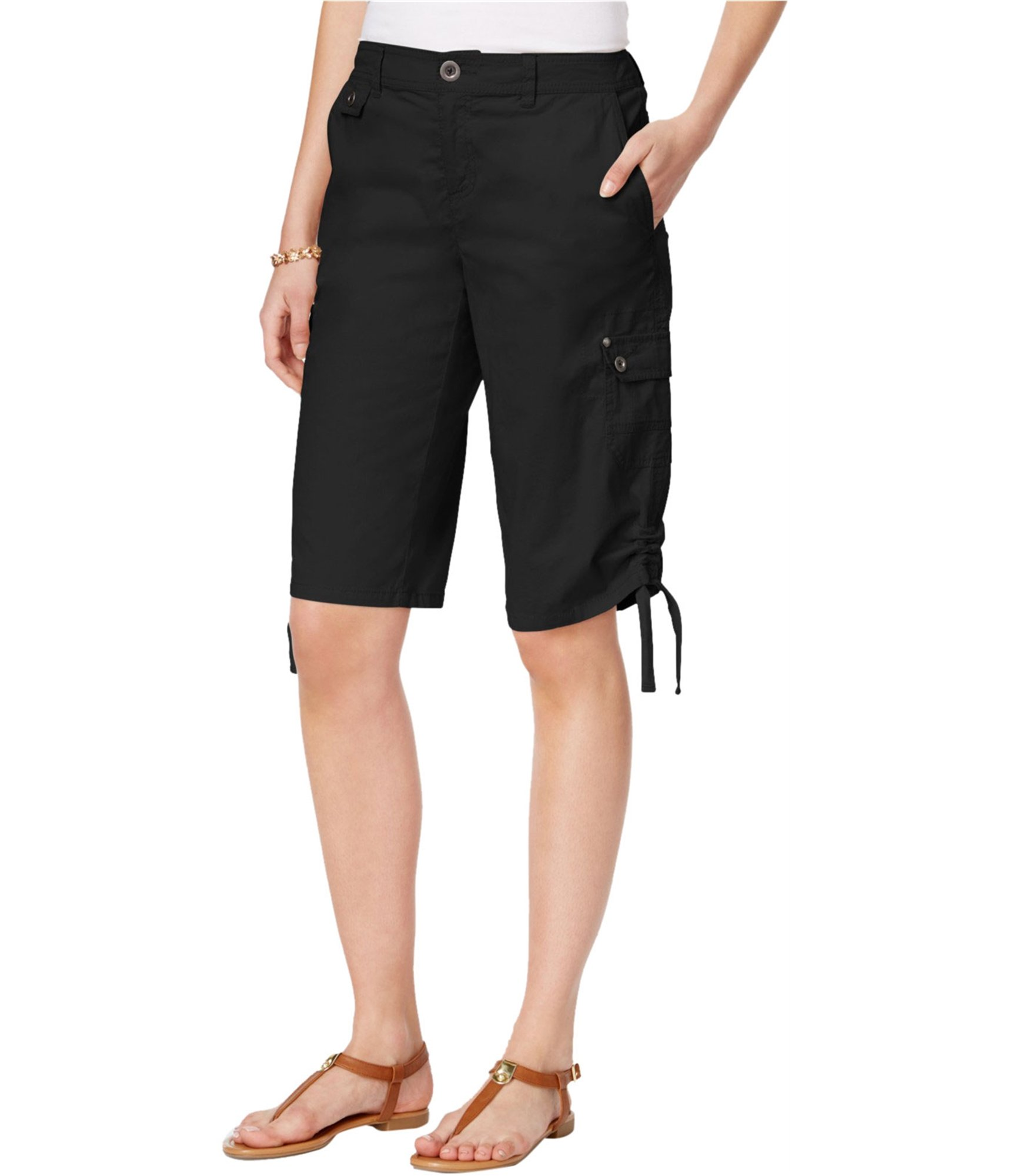 Style & Co.. Womens Mid-Rise Ruched Bermuda Shorts Black 6