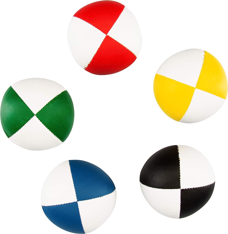 58mm /Ø ✓ Palline da giocoliere ✓ Water Repellent ✓ Soft Leatherette I Set di Giocoleria per Bambini e Ragazzi Set di 5 Palline da giocoliere Diabolo Premium Soft Juggling Balls Bicolore