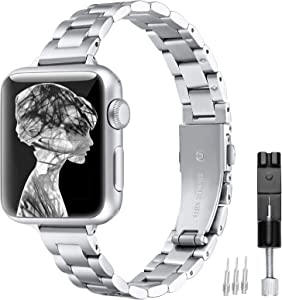 fastgo Stainless Steel Band Compatible with Apple Watch 38mm 40mm 42mm 44mm, Metal Slim Thin Bracelet Strap Wristband Compatible with Iwacth SE, Series 6 5 4 3 2 1(Silver, 38mm/40mm)