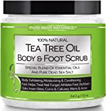 Pure Body Naturals Tea Tree Oil and Dead Sea Salt Body and Foot Scrub, 12 Ounce