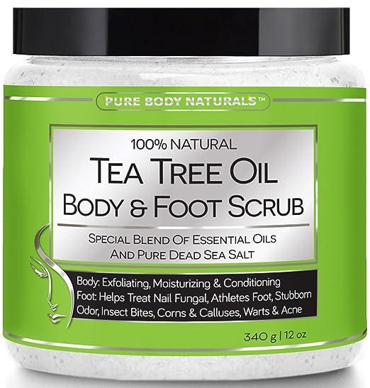 Pure Body Naturals Tea Tree Oil Body and Foot Scrub, 12 oz.