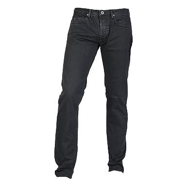 Gas Mens Casual Jeans Plain, gerades Bein (W29) (Schwarz)