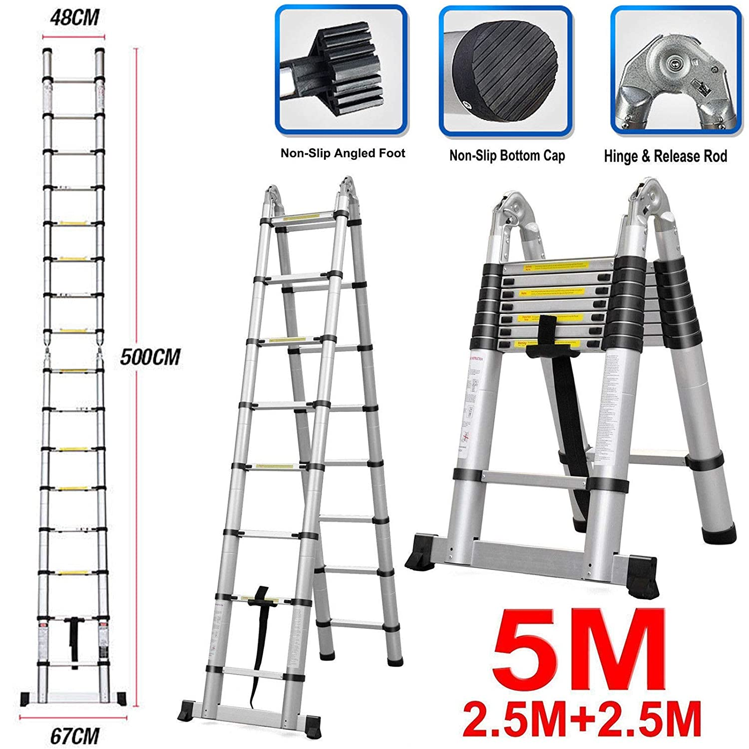 Telescoping Ladder 5m 16.5ft Multi-Function Ladders 16 Steps Folding 2.5M+2.5M Expandable Collapsible Easy to Carry Tall for DIY Builders Outdoor Indoor 440lb Load Capacity extending ladders 5m