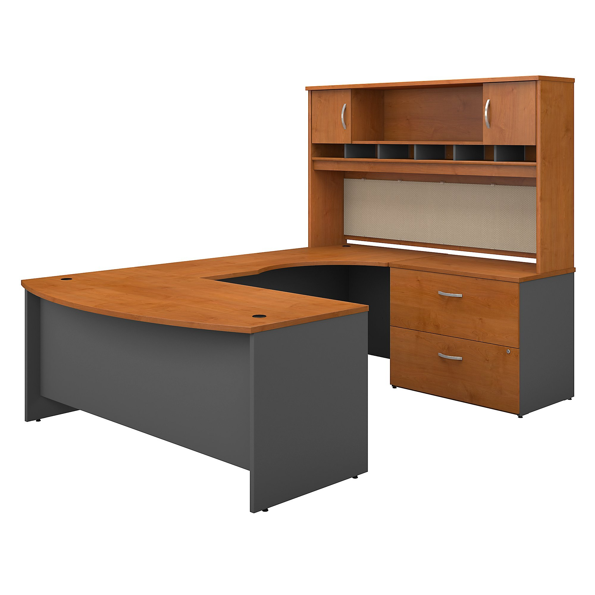 Bush Business Furniture Series C 72W Right Handed Bow Front U Shaped Desk with Hutch and Storage in Natural Cherry by Bush Business Furniture