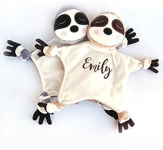 Sloth Stuffed Animal Plush Baby Security Blanket Personalized Name Monogram