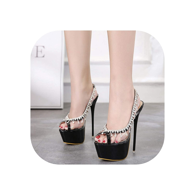 bafe65cf5d7 Amazon.com   RuoYuan sandals Sexy Stilettos Summer 17CM High Heels ...