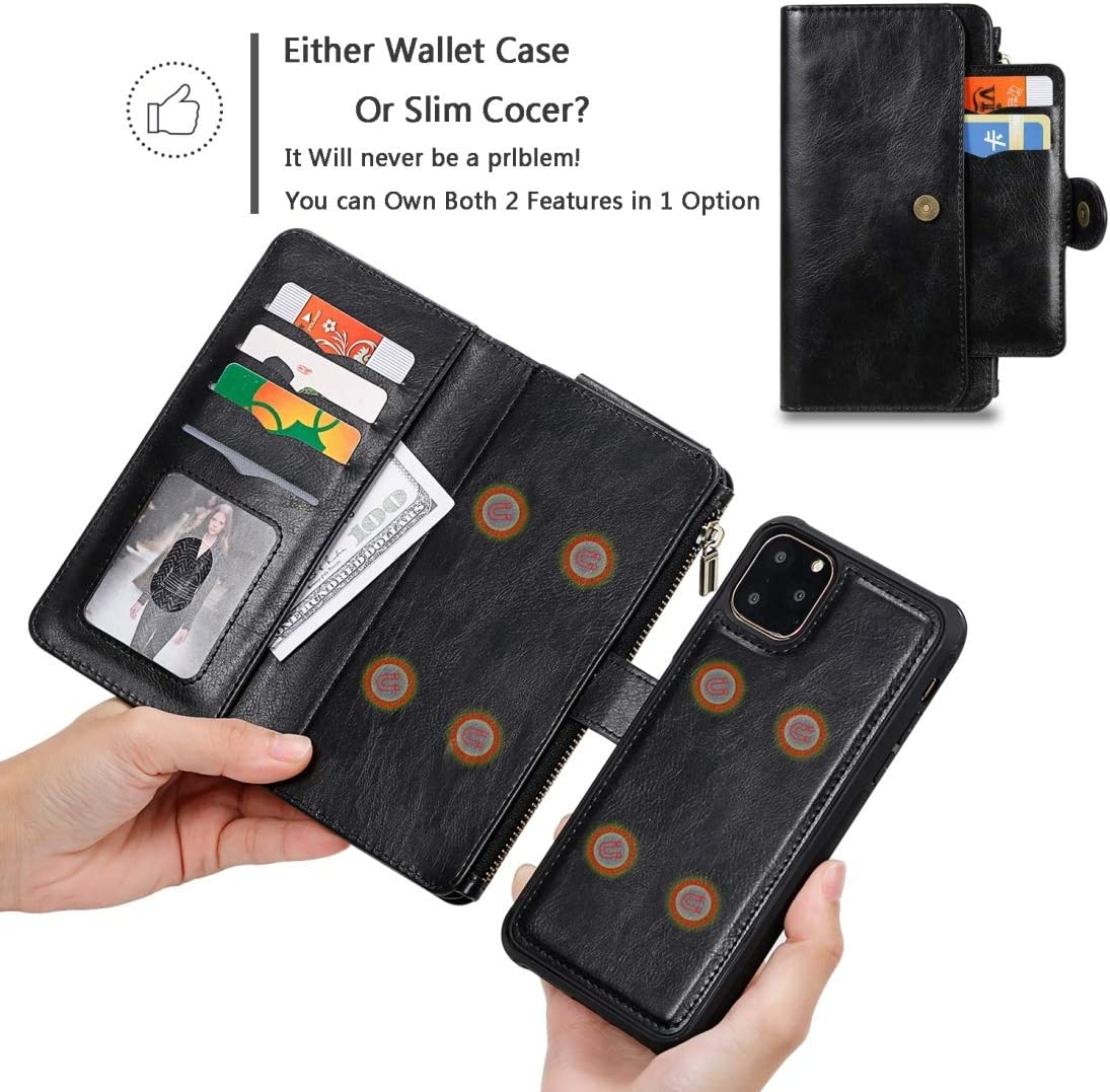 Beschermkap siliconenrubber mobiele telefoon cove For de iPhone 11 Pro Max Retro Multifunctionele Horizontale Flip PU Leather Case met Card Slot & Holder & Wallet & Photo Frame XSD Cover flip Black