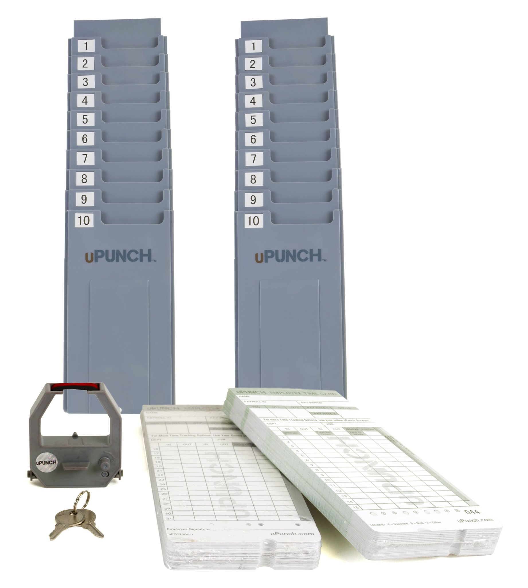 CALCULATING uPunch Time Clock Bundle with 200 Cards, 3 Ribbons, 2 Time Card Racks, & 2 Keys (HN4500) by uPunch (Image #3)