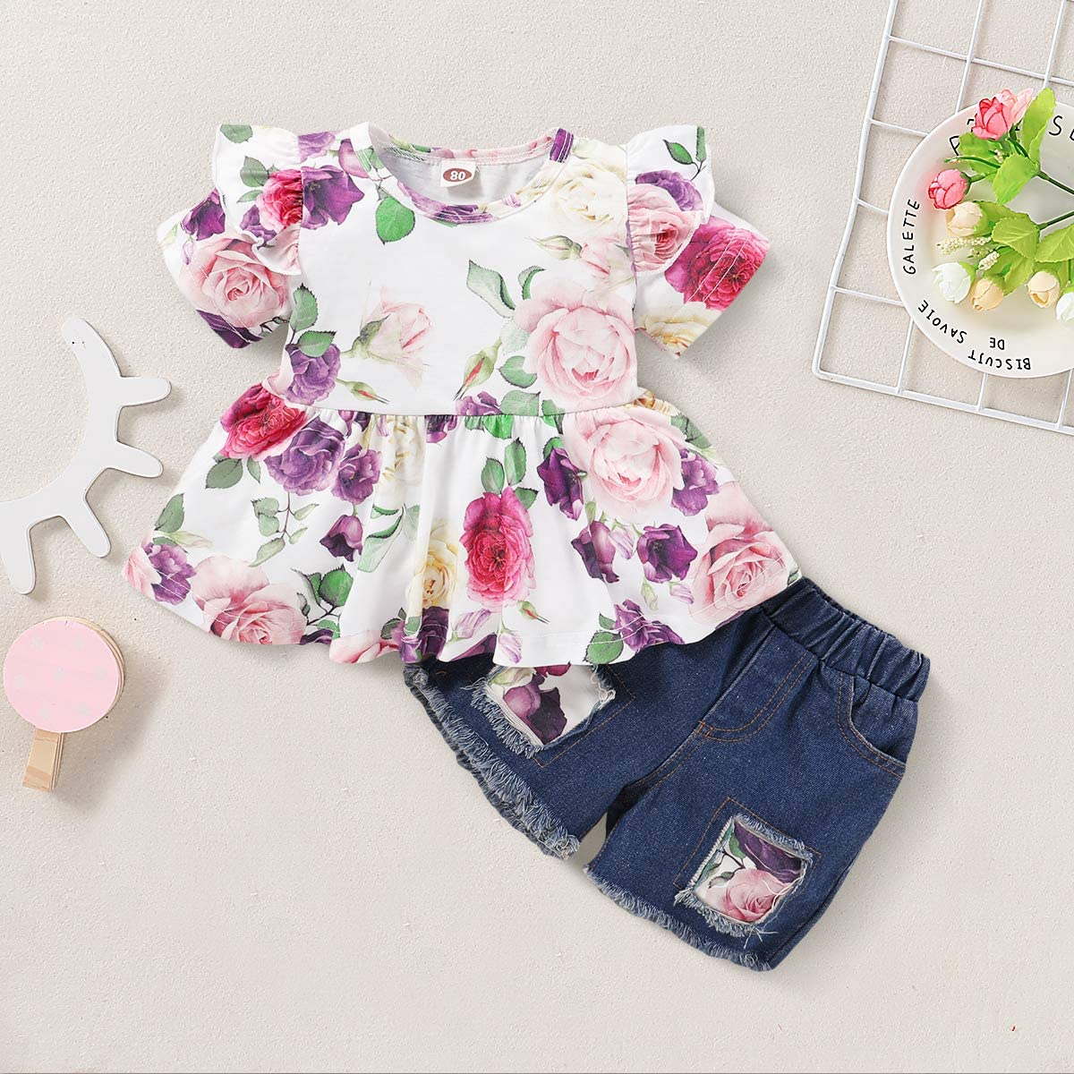 Toddler Kids Baby Girl Clothes Ruffle Sleeve Floral T-Shirt Tops with Ripped Jeans Girls Denim Shorts Pants Outfits