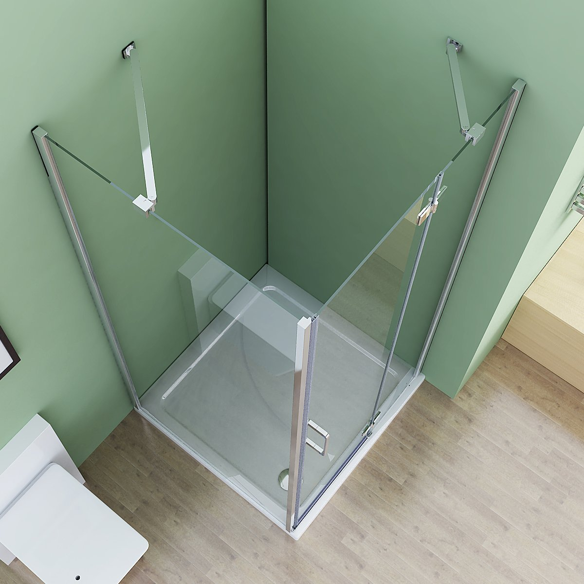 75 x 80 x 195 cm Duschkabine Eckeinstieg Dusche Falttür Duschwand mit Seitenwand NANO ESG Glas