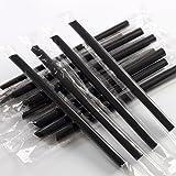 Drinking Straws,Hmane 100Pcs Disposable Plastic Big Boba Bubble Pearls Tea Drinking Straws - Black