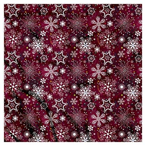 (Ambesonne Unisex Bandana, Snowflake Festive Christmas, Maroon White)
