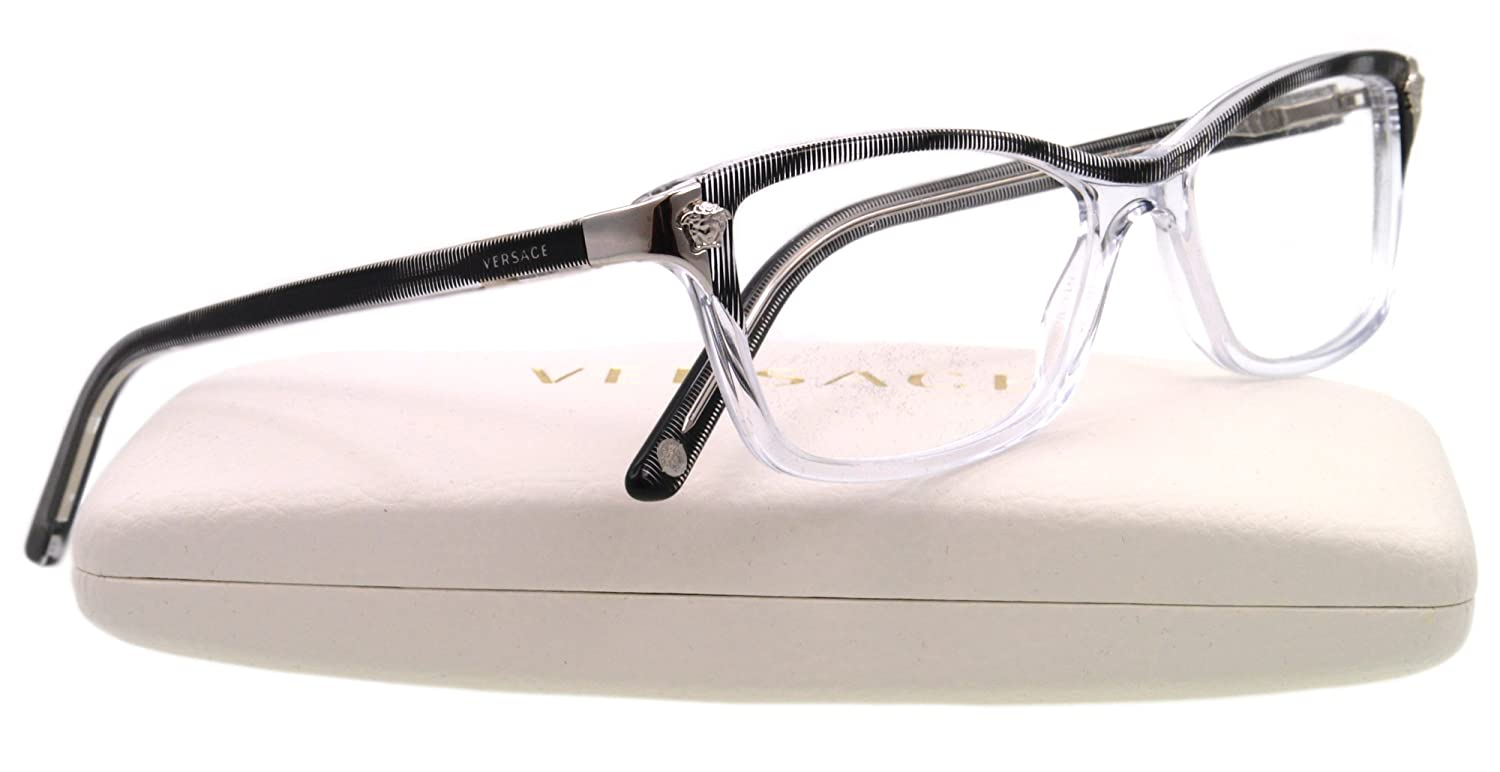 bd130f6a16 Amazon.com  Versace VE3156 Eyeglasses-933 Crystal Striped Black-51mm   Versace  Clothing