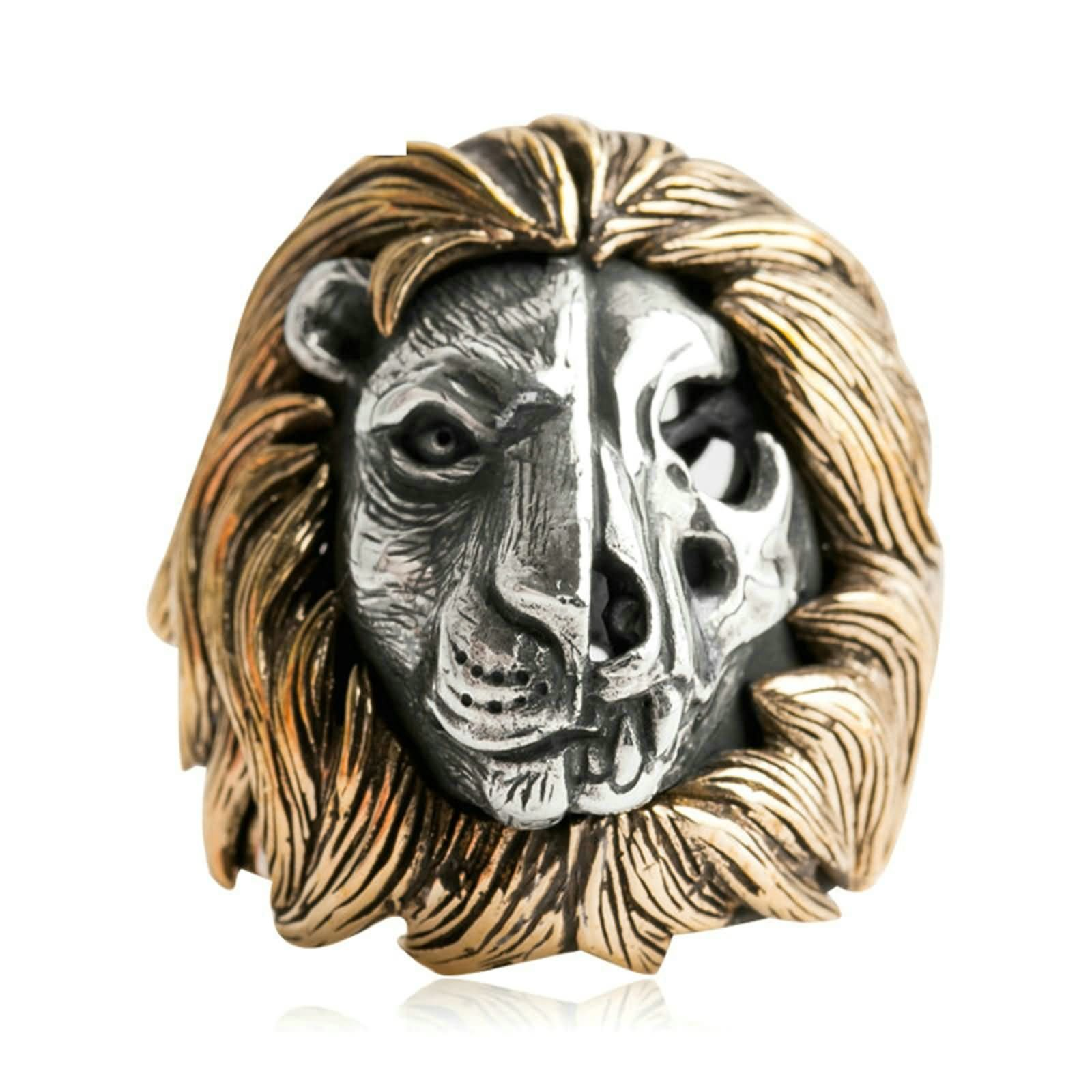 Bishilin Ring for Men Silver Plated Skull Lion Friendship Rings Silver Size 8.5