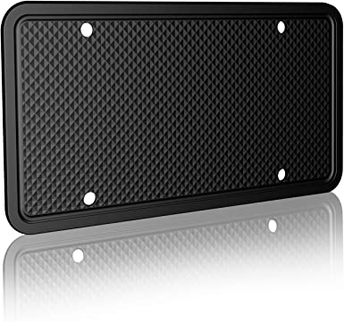 Black,1PC//2PCS Car License Plate Frame with Drainage Holes,Rust-Proof Weather-Proof and Rattle-Proof License Plate Cover for Car Z ZAFFIRO Silicone License Plate Frame