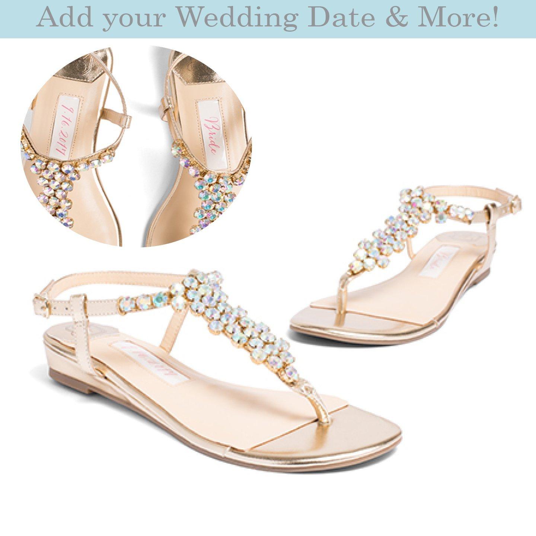 "4a2d4fbfe099 Amazon.com  Flat Wedding Shoes -""Patent-Pending"" personalization - Gold  wedding sandal - Style Bella  Handmade"