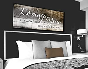 Sense Of Art | Loving You a Lifetime Quote | Wood Framed Canvas | Ready to Hang Family Wall Art for Home and Kitchen Decoration
