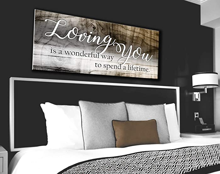 Sense Of Art   Loving You a Lifetime Quote   Wood Framed Canvas   Ready to Hang Family Wall Art for Home and Kitchen Decoration