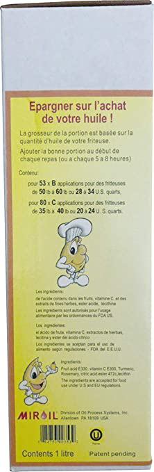Amazon.com: Miroil FryLiquid LF301 | 3 x 1 Litre Bottles | Antioxidant for Fry Oil | Prevent Oil Breakdown | Fry Healthier | Vitamin Therapy for Deep Fryer ...
