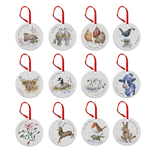 wrendale 12 days of christmas decorations bone china multi coloured 05 x 7
