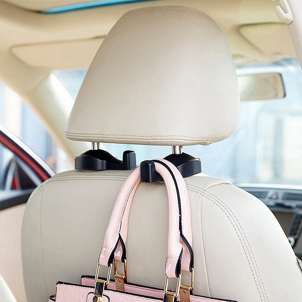 Black Coloured Vehicle Universal Car Organizer Car Back Seat Headrest Hanger Holder Hook for Bag Purse Cloth Grocery LLJSTAT0003 2 Pack Car Headrest Hooks