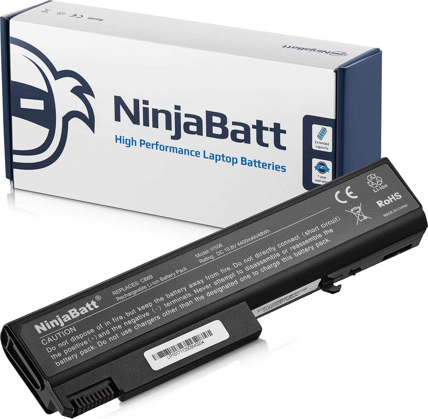 NinjaBatt Laptop Battery for HP EliteBook 6930P 8440P 8440W ProBook 6440B 6445B 6450B 6455B 6540B 6545B 6550B 6555B Compaq 6730B 6530B 6535B 6735B 482962-001 482962-001 TD06 TD09 - [6 Cells/4400mAh]